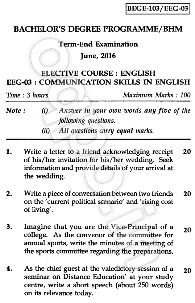 IGNOU BEGE-103: Communication Skills in English Question