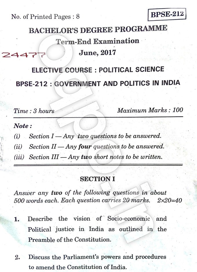IGNOU BPSE-212: Govt  and Politics In India Question Paper