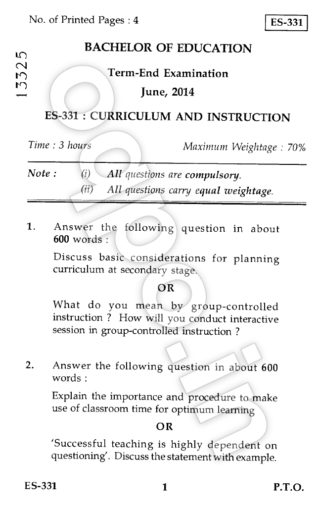 curriculum and instruction relationship paper