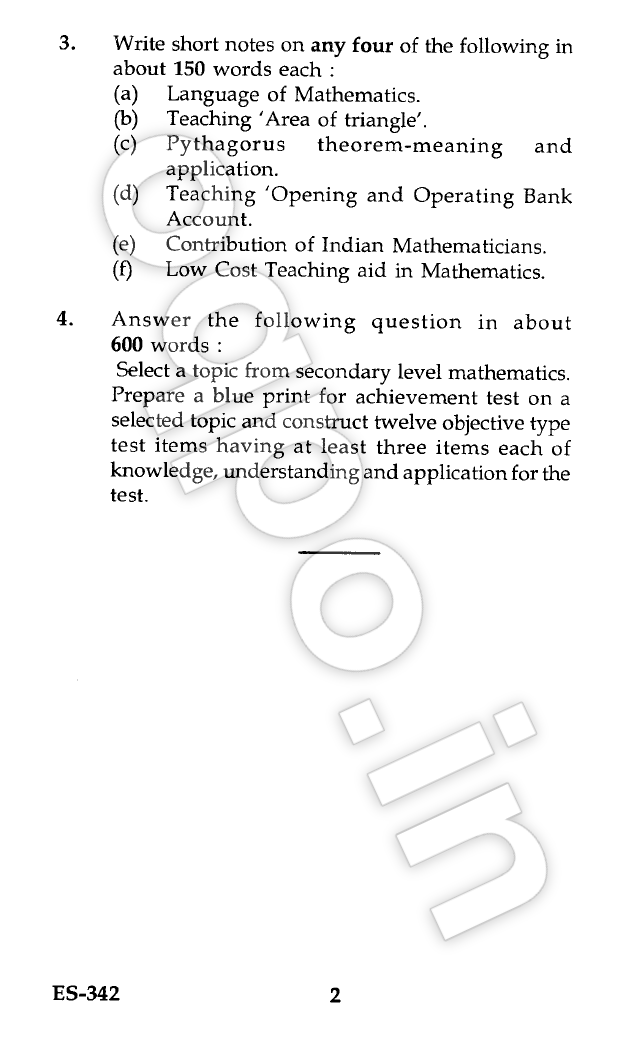 Ignou es 342 teaching of mathematics bed question paper june 2014 ignou es 342 teaching of mathematics question paper term end examination june 2014 for bachelor of educationbed malvernweather