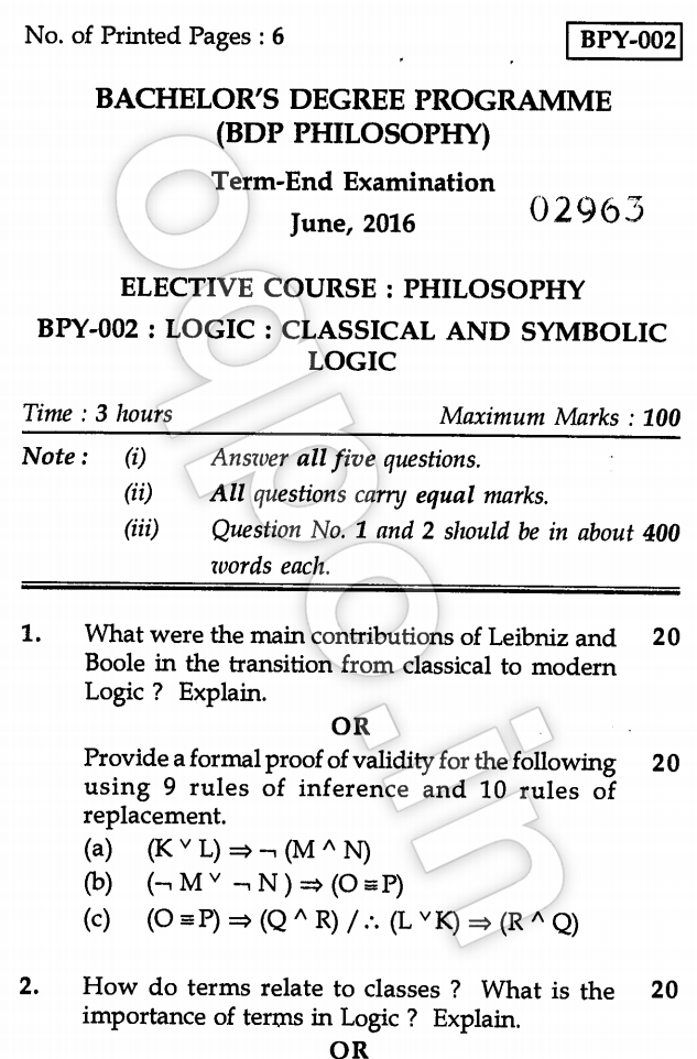 Ignou Bpy 002 Classical And Symbolic Logic Question Paper June 2016
