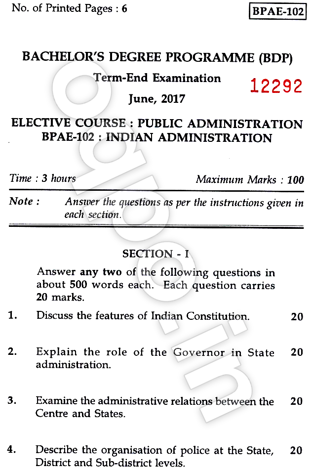 Ignou sample question papers for mba